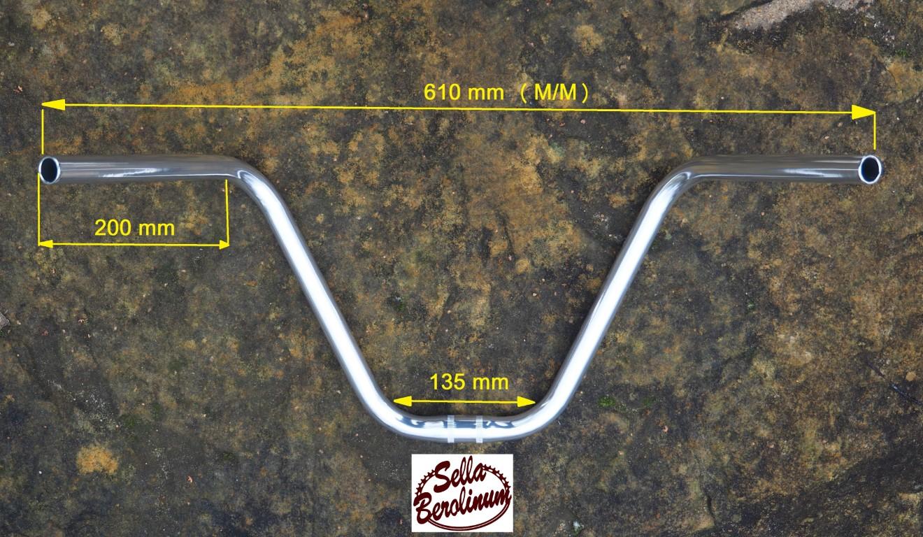 Moustache Lenker Trainingsbügel Aluminium silber poliert 25,4 mm Klemmung
