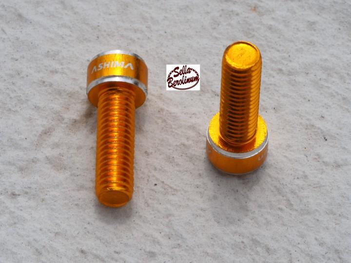 2x Ashima Eloxierte Trinkflaschenhalter Schrauben Alu M 5x15 rot,blau,gold,schw
