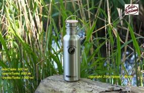 sportsTANKA™ Edelstahl Flasche 800 ml mit Bambus Verschluss