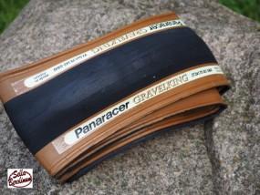650 x 42B Panaracer Gravelking Slick Faltreifen schwarz/ braun 42-584